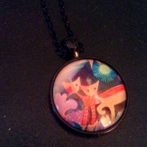 Adorable abstract cat pendant